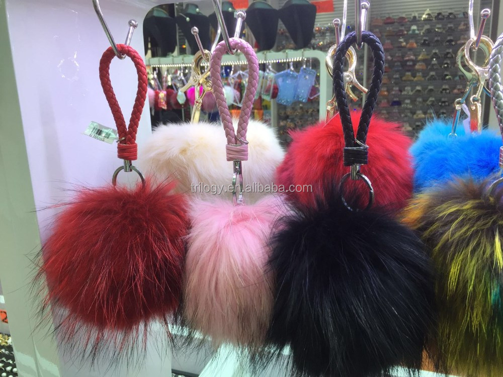 hot selling fashion custom fake fur ball keychain for bag charms hat/caps