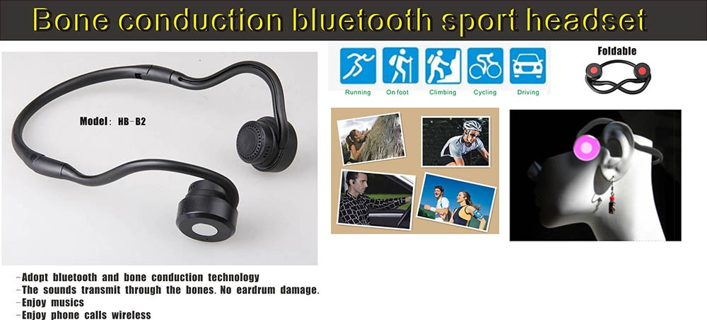 Latest foldable neckband bone conduction sport mic blue-tooth headset hearing protection bone conduction blue-tooth earphone