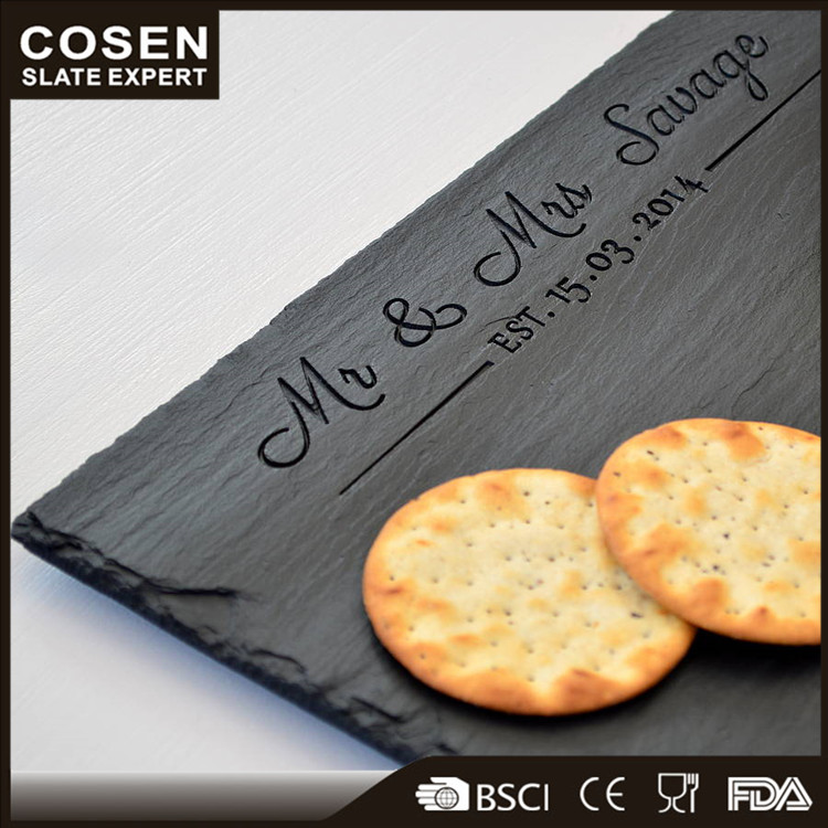 New natural black slate main plate with LFGB and FDA certificates