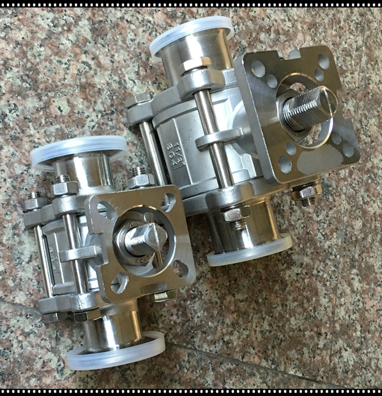 full port 3 pieces t clamp end sanitary ball valve with iso 5211 direct mounting pad