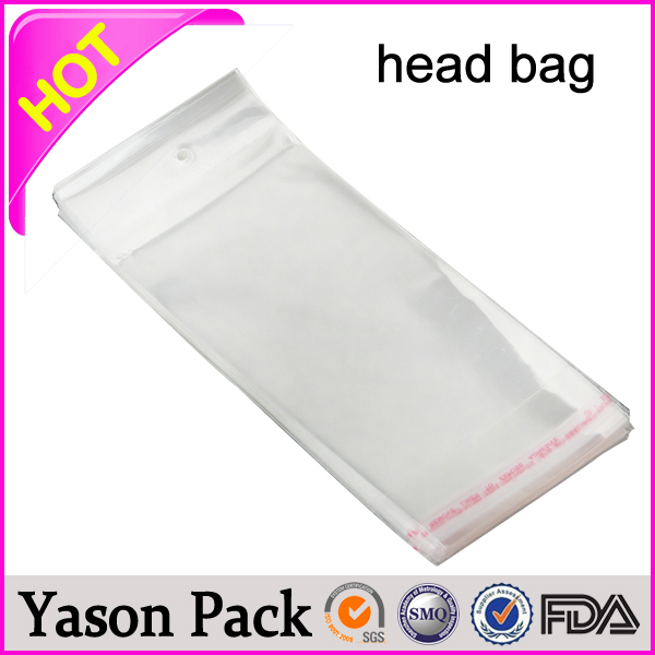 custom opp/cpp plastic packaging header card poly bag