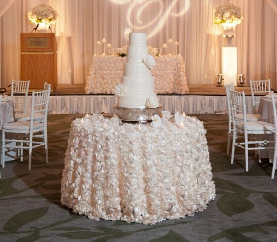 fancy rosette ivory gold white wedding table cloth