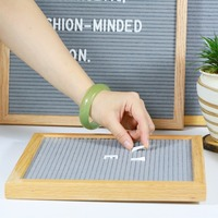 2017 hot selling high quality letter board oak wood frame black felt letter boards
