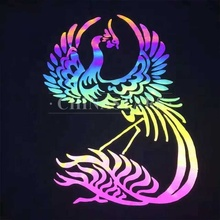 46cm width CSRG-8004GD Rainbow Reflective Heat Transfer Vinyl/film for plotter/laser machine into GRAPHIC CHARACTER LOGOS labels