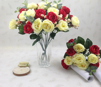 Yiwu artificial flowers decoration camellia silk flower with ten heads European