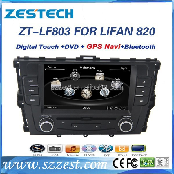 ZESTECH 2 din touch screen car dvd gps for Lifan 820 car dvd gps with radio RDS 3G BT
