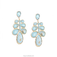 Glamorous Celinia Pastel Chandelier Earring Blue Gold Foiled Laurel Earrings Fashion Jewelry