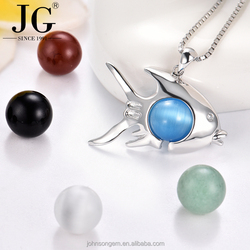 Wholesale sterling silver pearl cage pendant necklace 925 silver fish shape Jewelry cage pendant for pearl