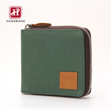 RFID Men's Green Canvas Crazy Horse Zipper Wallet With Coin Pocket
