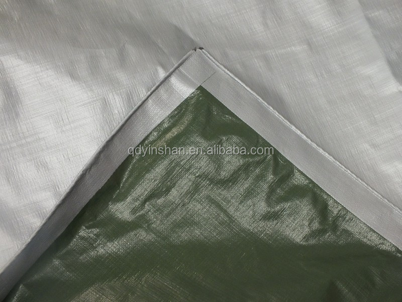 tarpolin high density polyethylene plastic sheet military green sliver 3 feet mesh pp rope in hem waterproof tear-resistant