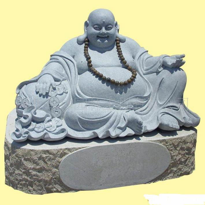 Kuan Yin Statue sitting on lotus with Stone Craving