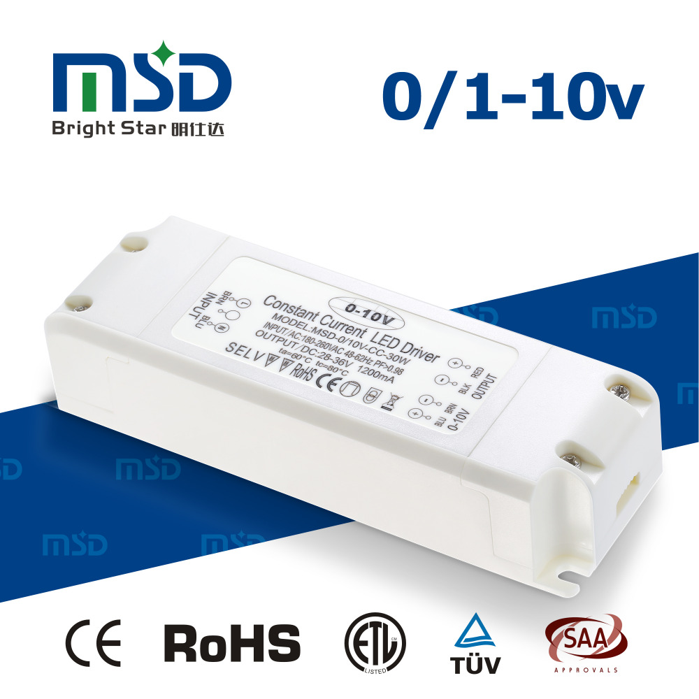 350mA 500mA 700mA 900mA 1050mA 30W 0-10V Dimmable Constant Current LED Power Supply / Dimming LED Driver