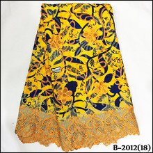 Sinya Nigerian Ankara Wax Fabric With Lace, African Wax Lace Fabric,Wedding/Party Wax with Cord lace
