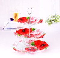 3 tiers glass cake stand for wedding