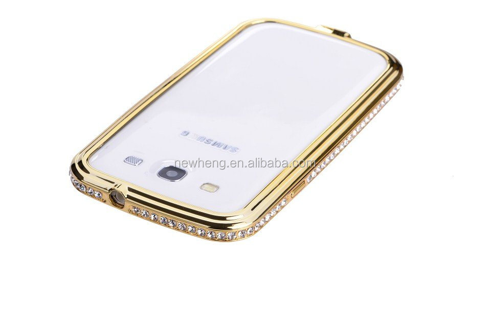 Bling shining crystal aluminum diamond metal bumper frame case for Samsung Galaxy S3 I9300