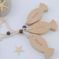 Natural Wooden Hanging Tag Wooden Chirstmas Ornament Tag Fishing Shape