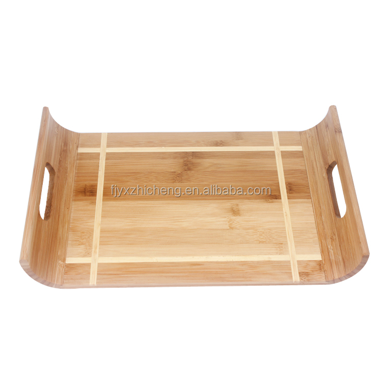 Wholesale Bamboo Bread Serving Tray with Handles Tea Serving Tray for Home& Kitchen