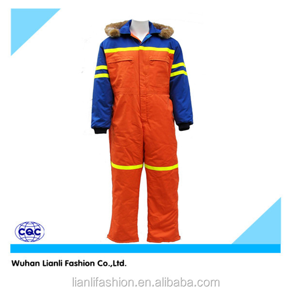 100%cotton hooded winter padded workwear coverall with reflective tape