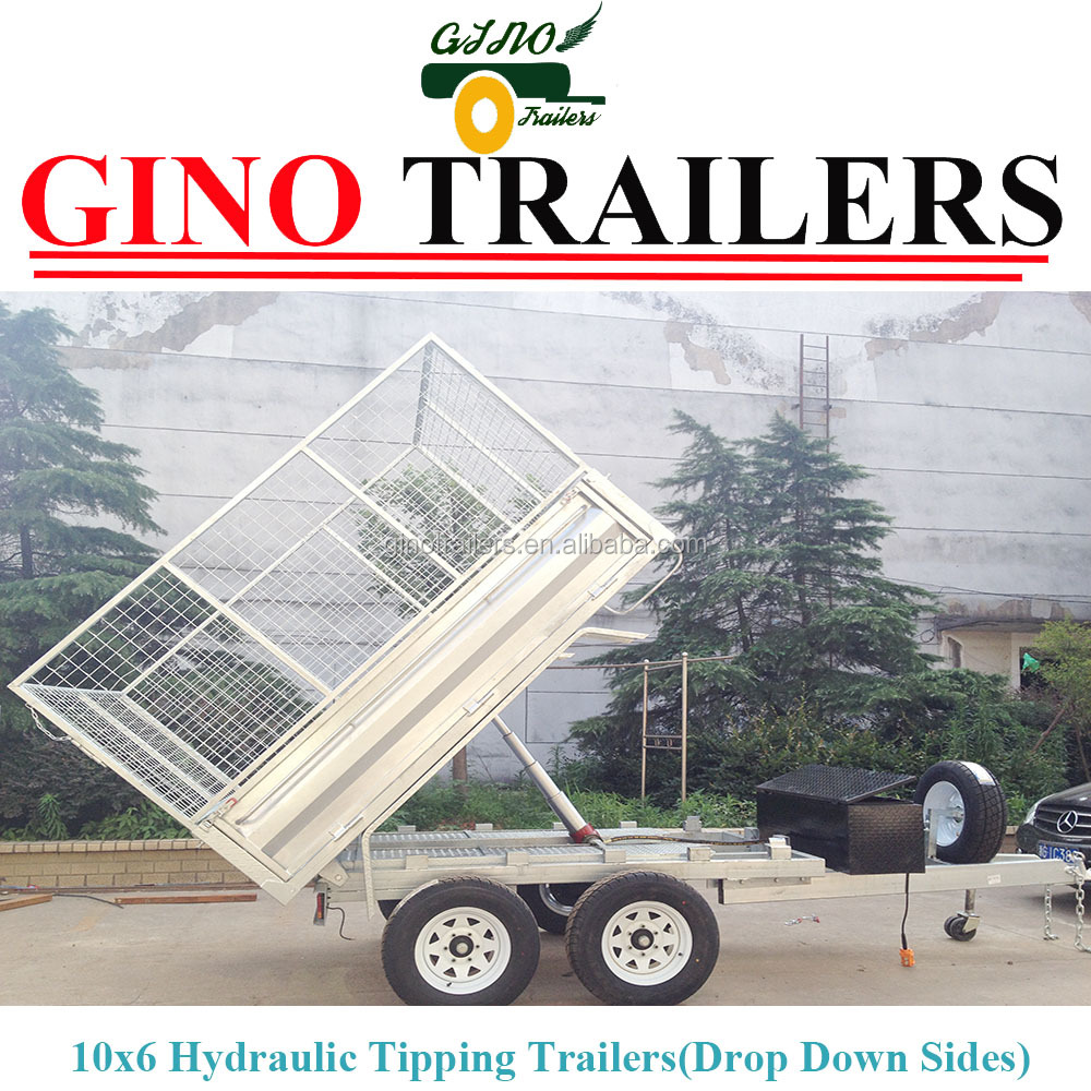 Australia farmer galvanizing utility welded hydraulic tipping box cage trailer
