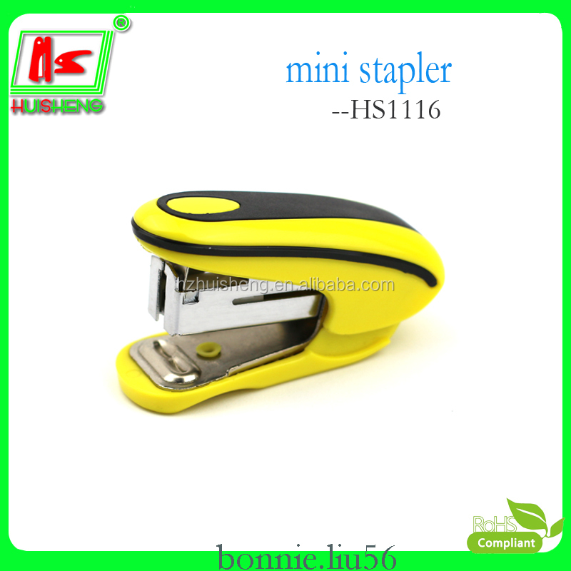 Guangdong stationery yellow black stapler universal plastic mini stapler
