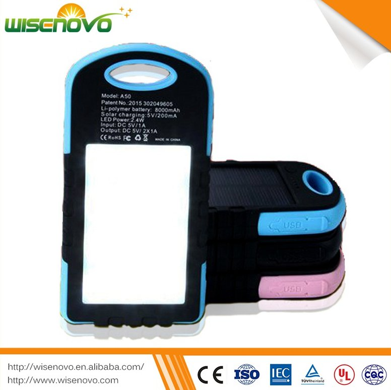 Newest free sample dustproof function 8000 mah Solar universal usb power bank