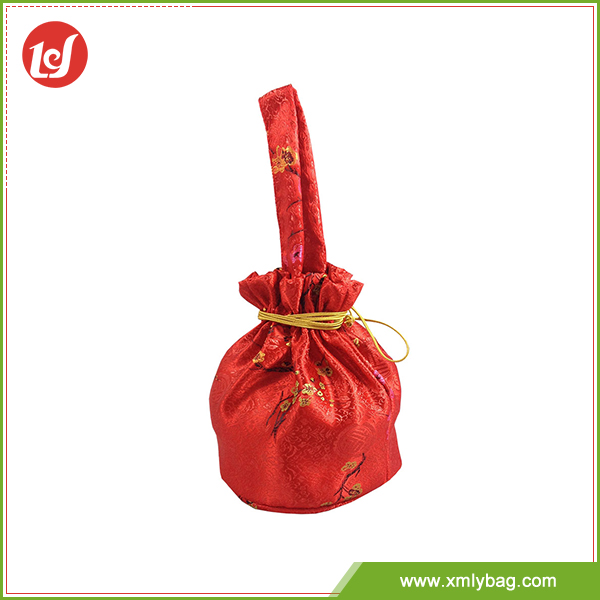 Chinese style red christmas party drawstring gift bags