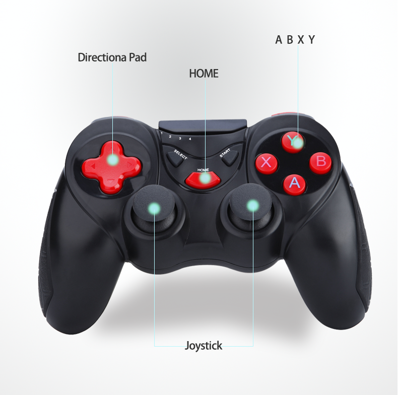 Small MOQ Wireless Bluetooth Gamepad Joystick Black+Red android wireless game controller, jite joystick gamepad