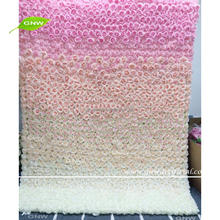 GNW Pink To White Color Gradual Change Stage Backdrop Wall Wedding Decor Fabric Flower Wall