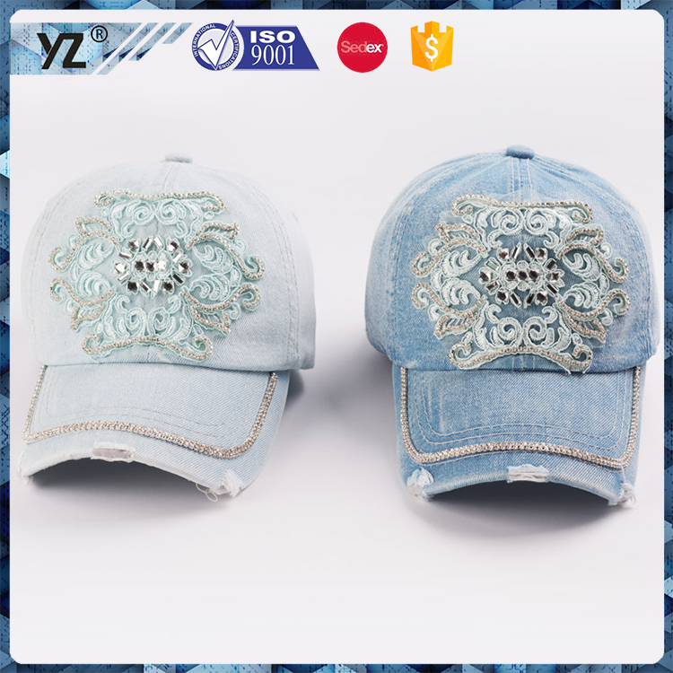 wholesale custom beautiful lace emboridery design worn jean caps and hat 6 panel baseball women hats by alibaba made in china