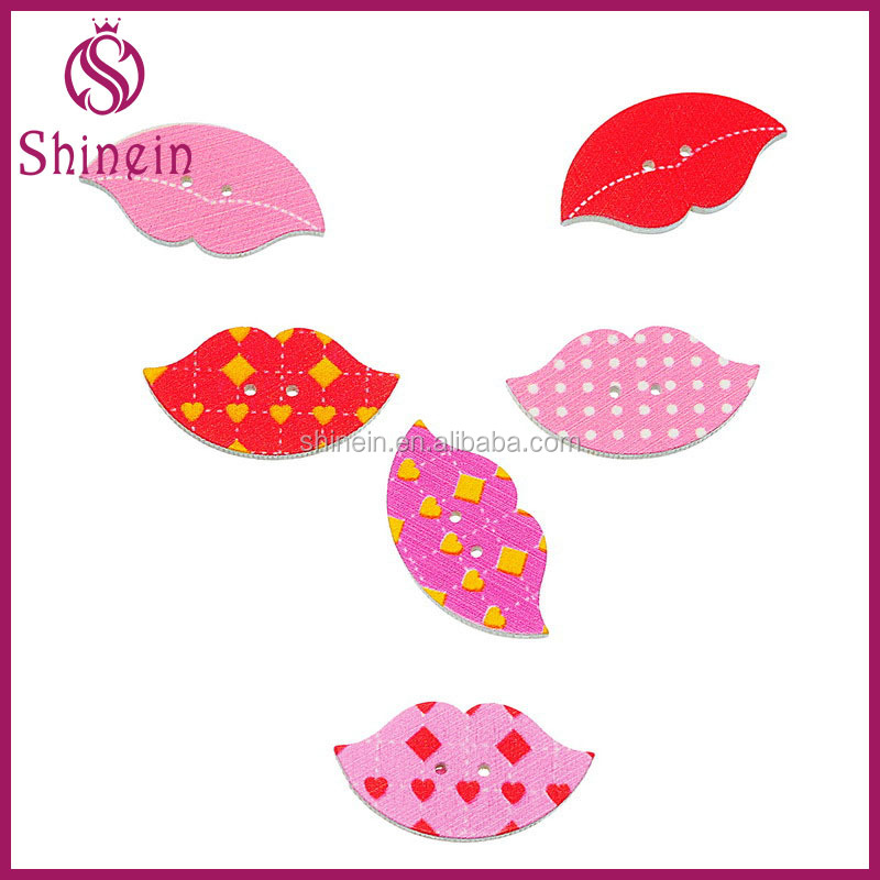 In stock 2 holes lip shaped wooden button for jewelry making