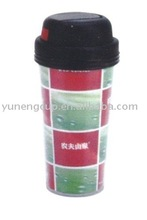 double walls plastic cup with straw