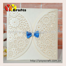 floral laser cut wedding invitations cards with ribbon invitation card for wedding decoration