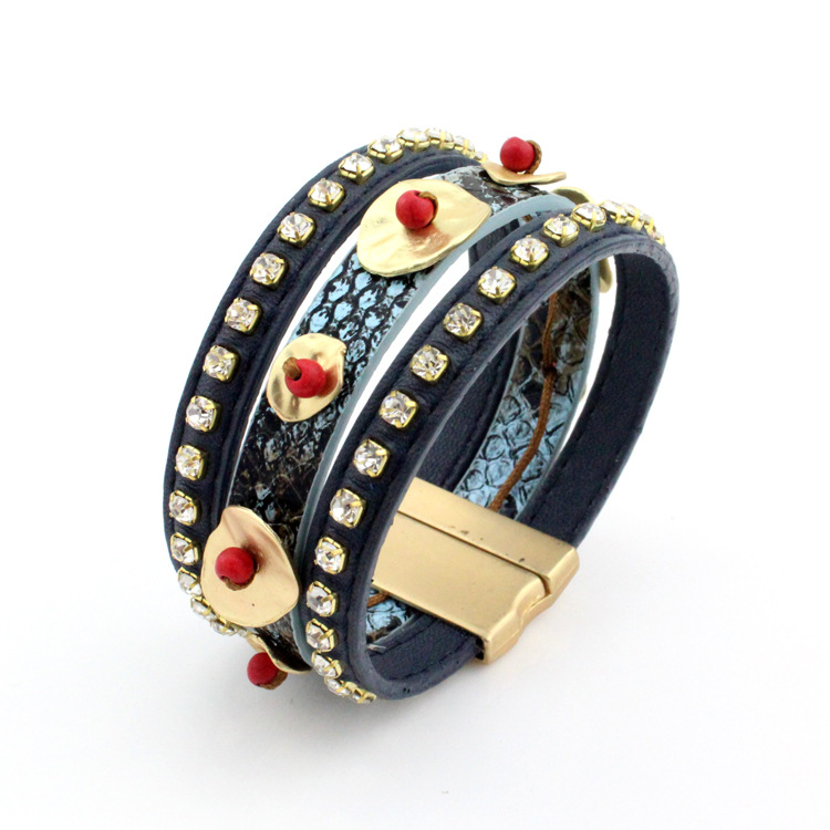 Jewelry Bracelets Characteristic Faux Leather Rhinestone Layered Turquoise Beaded Bracelet For Women