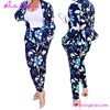Fascinating Blue Flower Printed Pants Suit