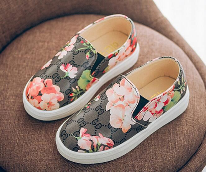 Hot sale pu casual baby antumn kids girls sneakers flower toddle children walker shoes