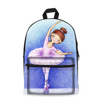 Fashion dancer printed college student canvas backpack school bag for girls