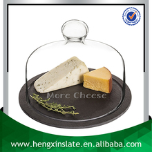 Wholesale Dia20*0.5cm Round Black Slate Cheese Board with Glass Dome Cover