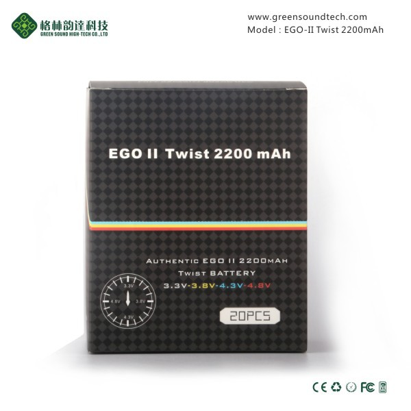 2019 GreenSound Best E Cigarettes 2200mah ego II twist 2200 mah battery With CE/ROHS/FCC