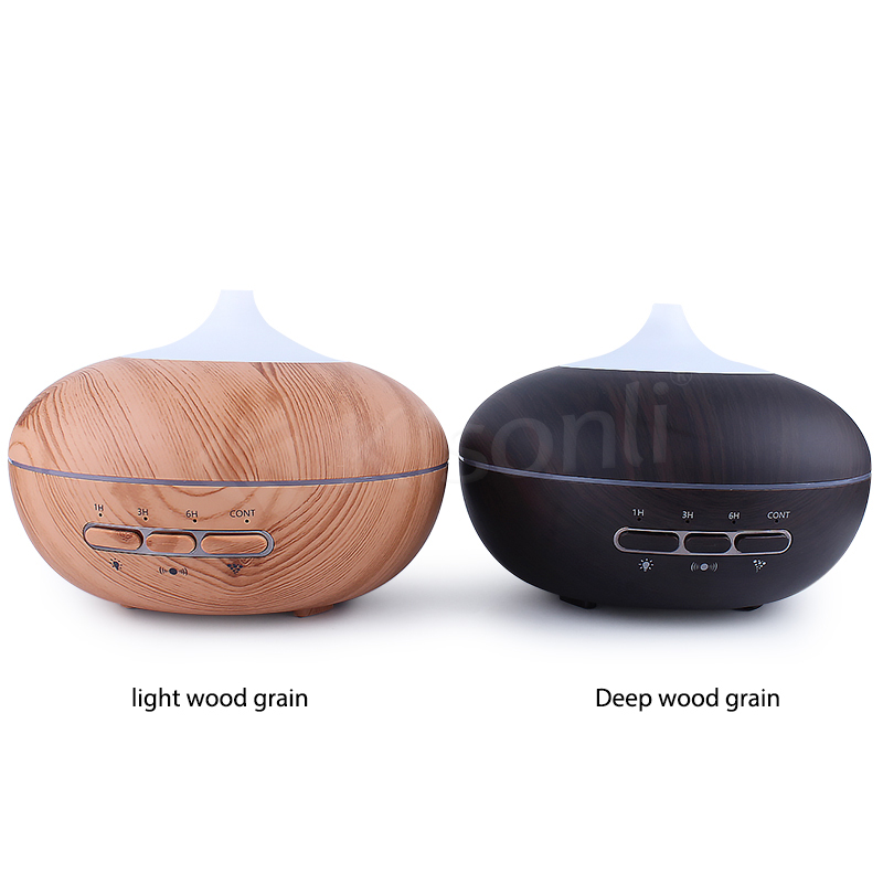 Wooden Grain Color Ultrasonic Cool Mist Humidifier With 7 Color Flash LED Air Aroma Humidifier For Car