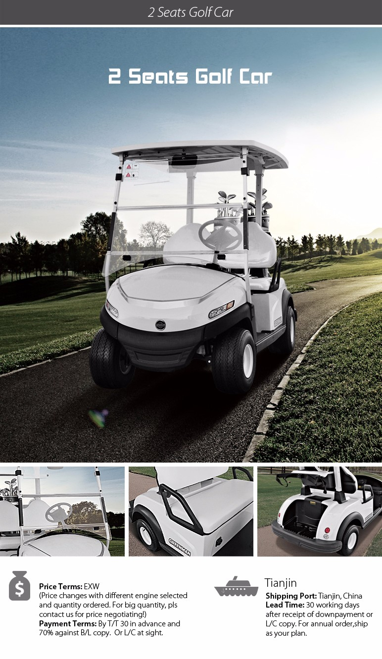 Good quality 2 seats battery golf car with Aluminium frame Curtis controller Trojan battery