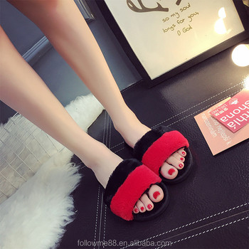 real wool comfortable winter real fur slide slippers for women S6b