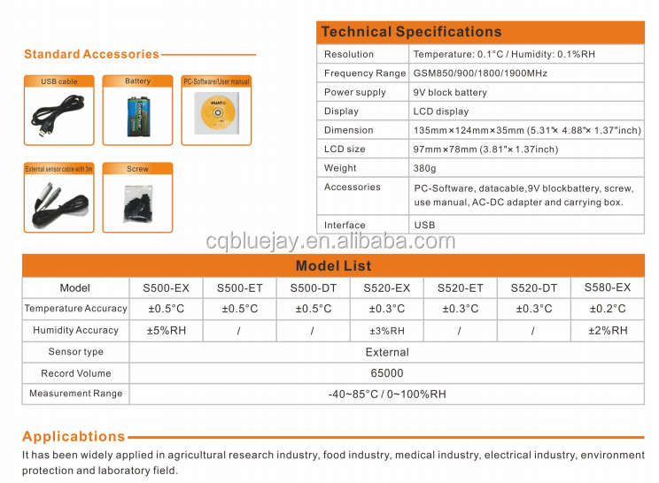 S 500-TH-GPRS good quality -20~70 C alarm temperature and humidity data logger with external sensor