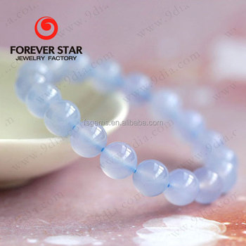 Wholesale High Quality Natural Agate Beads Blue Chalcedony Bracelet