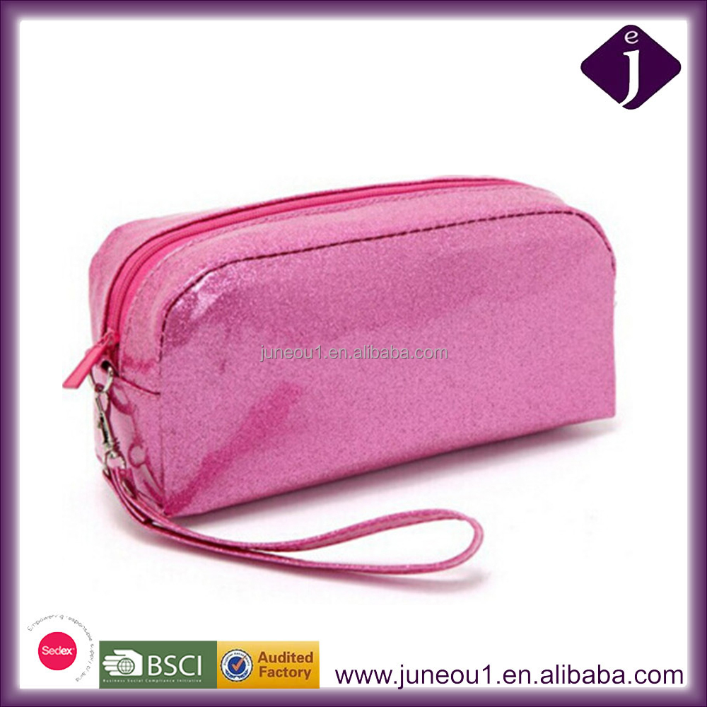 Fashion waterproof PVC Material Jelly Solid color Shining Cosmetic Bag for women