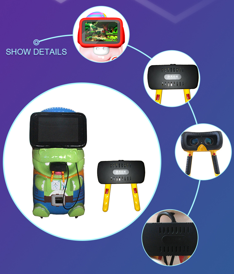 Cute looking 500w kids VR game machine with hand-held glasses VR