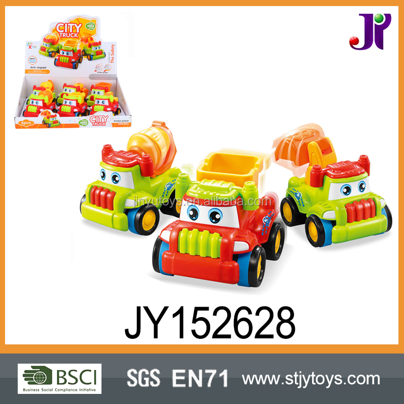 ECO Raw Material Baby Cartoon City Friction Power Construction Truck Toy