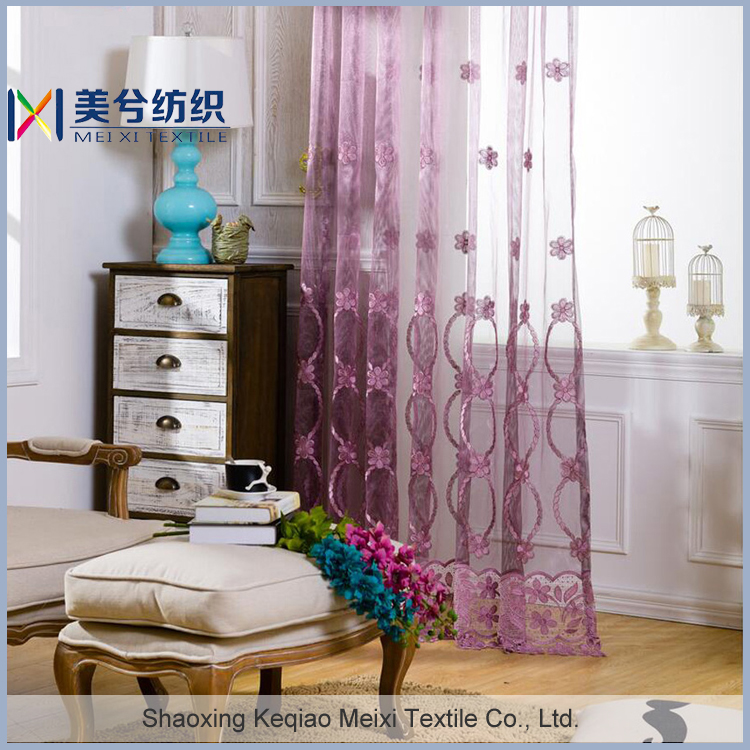 Gauze embroidery ready made curtain and drapes, embroidered curtain drapery organza sheer panel drapes curtain