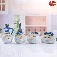 Soap Dish Dispenser Toothbrush Holder 4 Set Christmas ceramic bathroom accessory sets