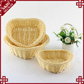 Heart shape handmade beige rattan weave storage basket for fruit