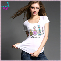 Ladies Summer Geometric Pattern Printing Hot Fix Rhinestone Stretchable White T Shirt/Women's Tops